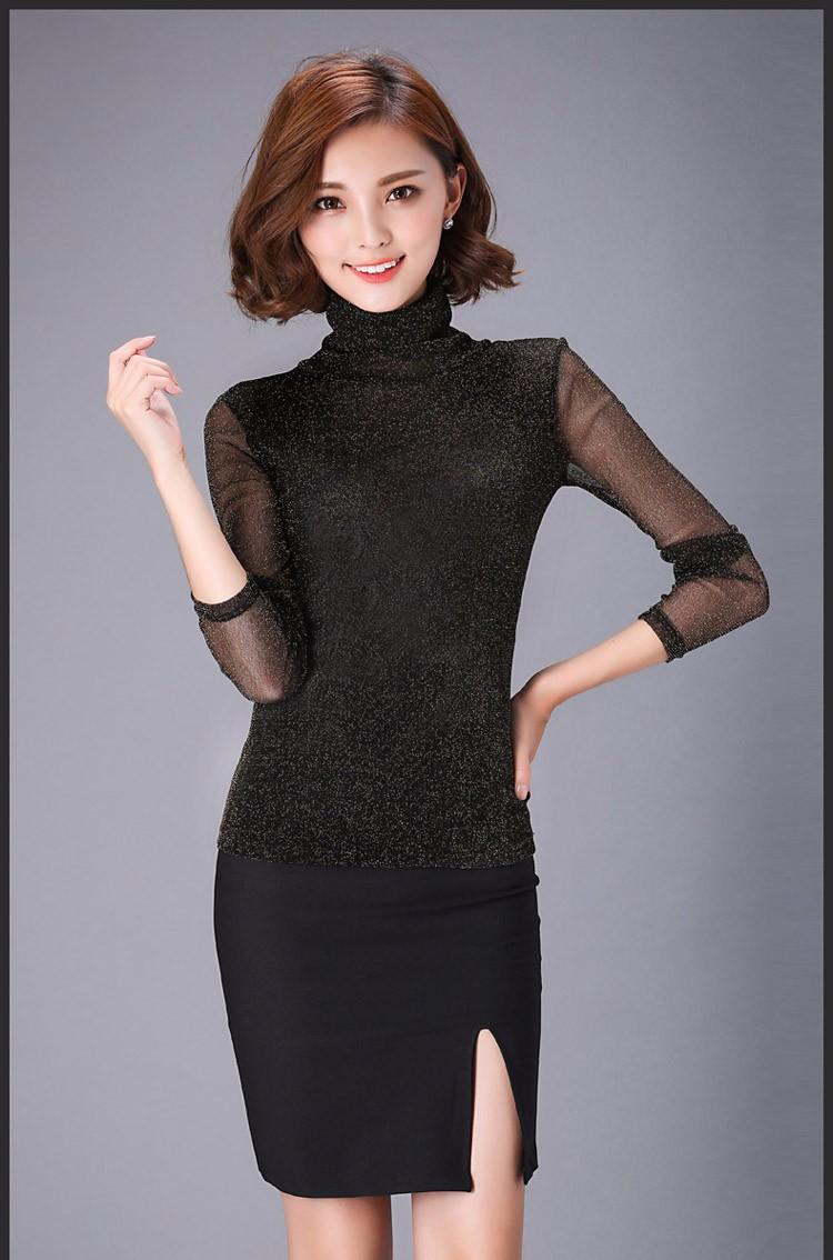 Femmes Blouses À Manches Longues Col Roulé Hiver Femmes Élégantes Blouse Mode Femmes Hauts Grandes Taille Plus Blouses Pour Femmes