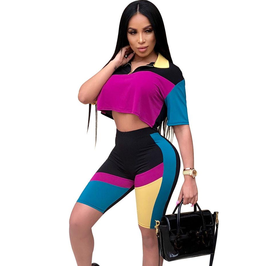 310345079d2 2019 Set Women Patchwork Sexy Short Sleeve Tops +Bodycon Shorts Sweat Suits Summer  Outfits Two Piece Casual Tracksuit From Clothingdh