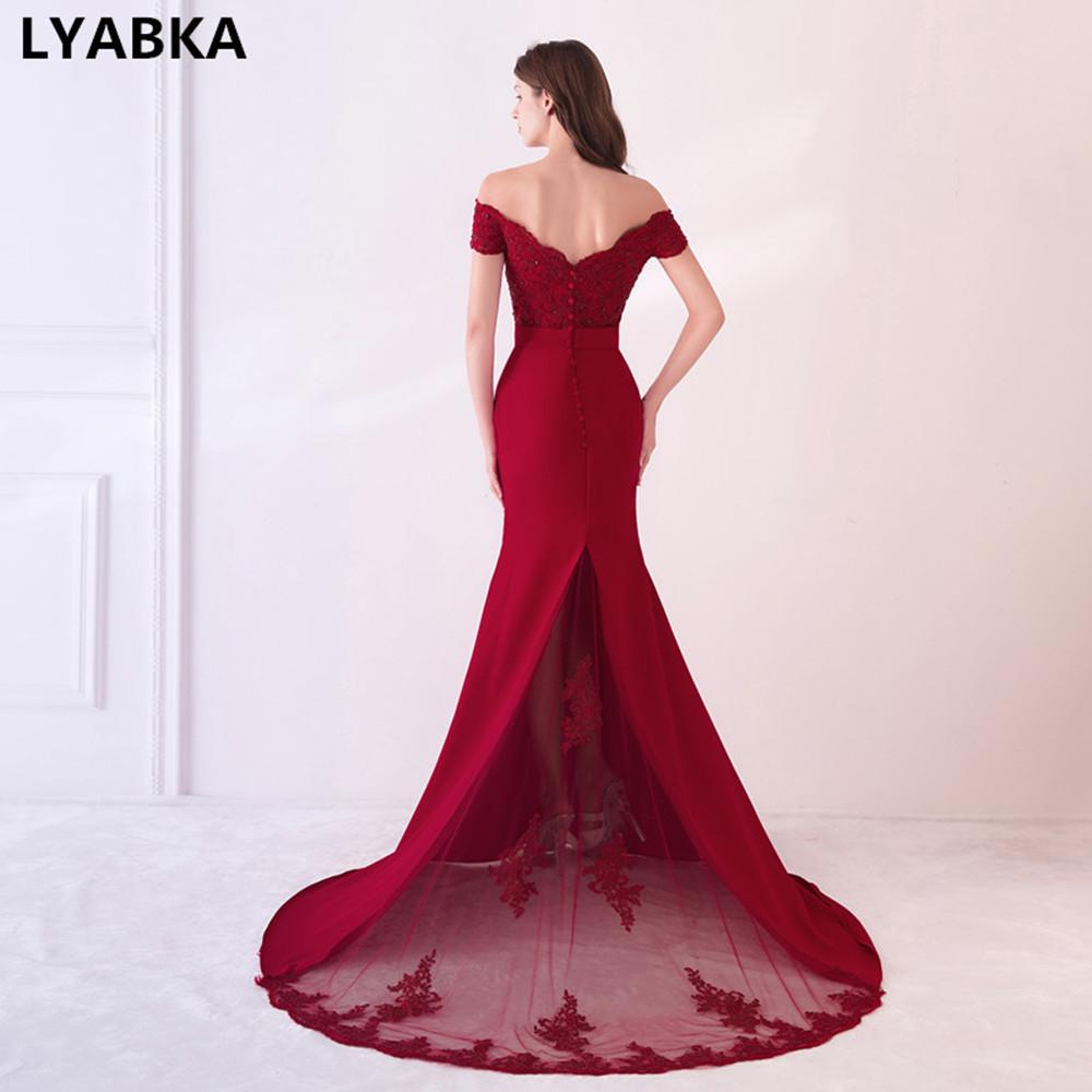 Cap Sleeve Prom Dresses Robe De Soiree Burgundy Prom Dress Real Photo Sweetheart Mermaid Prom Dresses Long Vestido De Festa C18111601