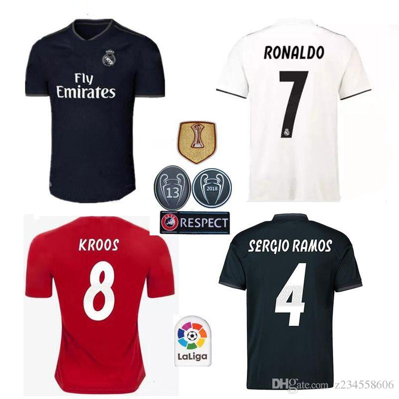 the best attitude d2a13 8008a 18 19 Real madrid Soccer Jersey Ronaldo Modric Kroos Sergio Ramos Bale 2018  2019 ASENSIO ISCO Champions League 13 cup football shorts socks