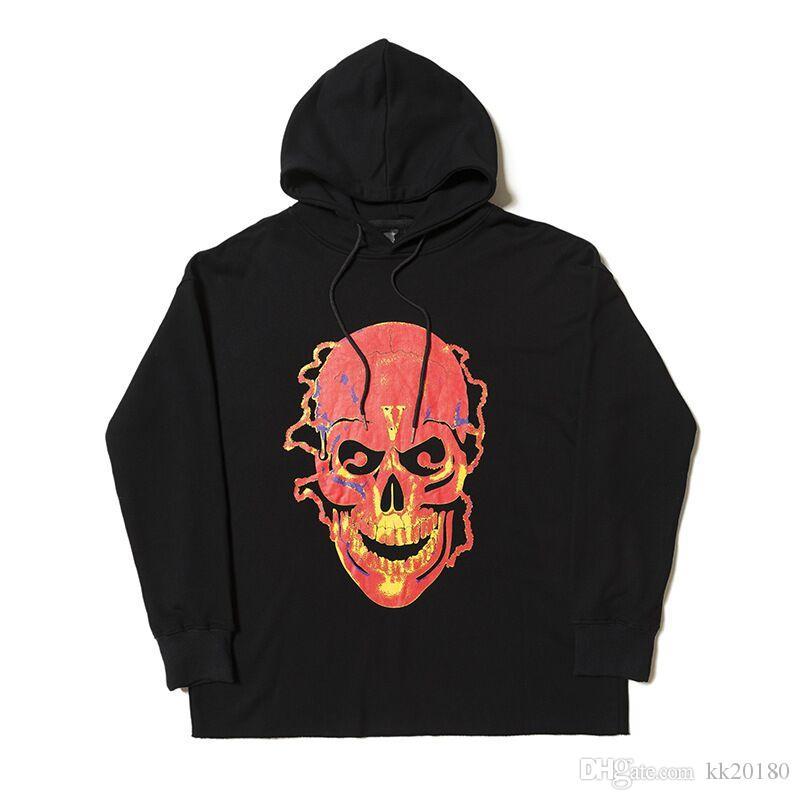 b230021332183 Compre Nueva Moda Cráneo VLONE Big V Hoodies Hombres Mujeres ...