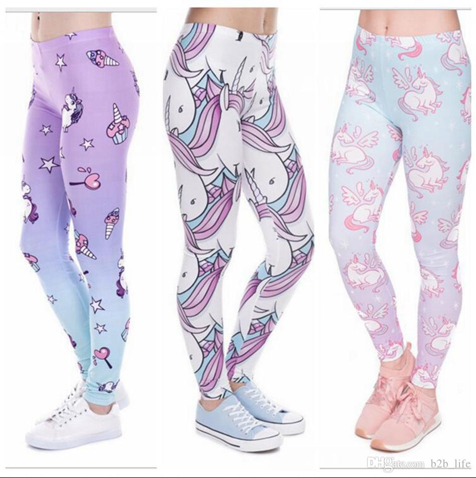 27bc3b7a4e5511 2019 Unicorn Printed Legging Yoga Running Sports Pents Digital Printed  Trousers Slim High Waist Leggings Women Pants 3 Styles LJJO4478 From  B2b_life, ...