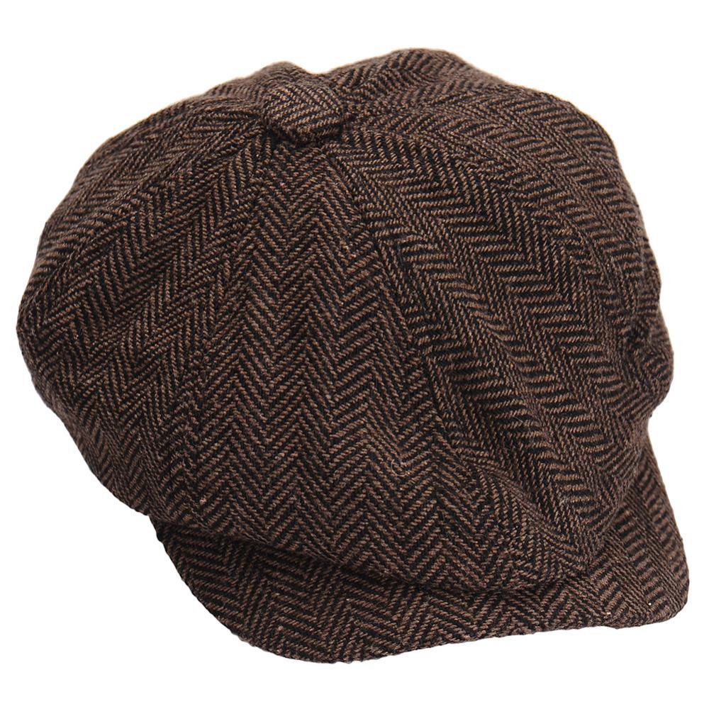 Compre Moda Octagonal Cap Newsboy Beret Hat Sombreros De Otoño E Invierno  Para Hombres De Color Café Hermoso Plaid Casual Hat Beret Cap A  3.76 Del  Super03 ... 71a63e5d094e