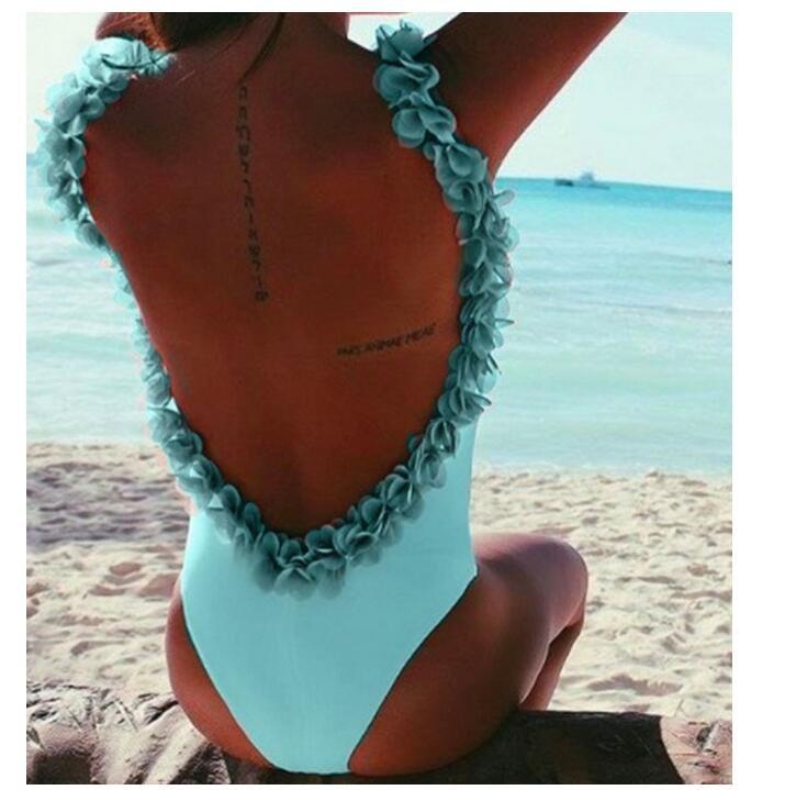 2018 nuove donne Petalo floreale Sexy Moda bikini costume da bagno tute delle donne vestito halter Casual Sexy tute costume da bagno