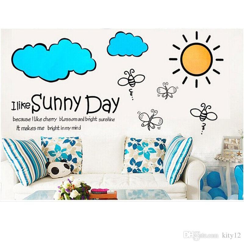 Cute Sun Cloud Removable Mural Kindergarten Nursery Kids Baby Child Bedroom Decor Self Adhesive Wall Sticker Decal
