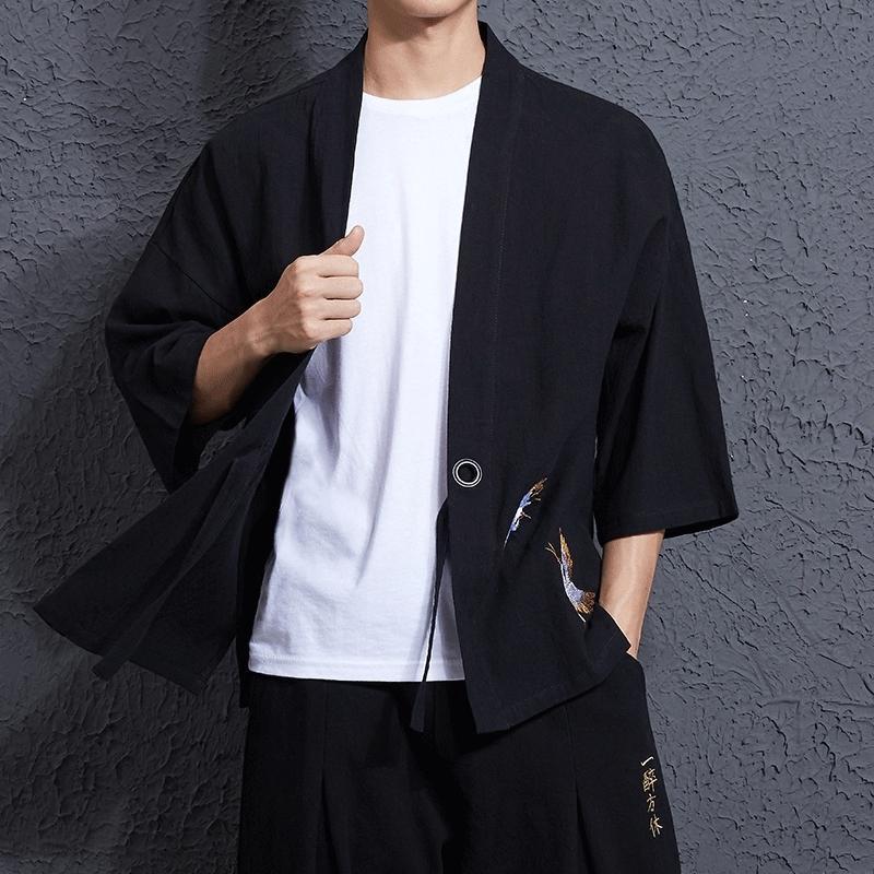 bb8bf7f48d4 LFF 2018 Men Japan Style Kimono Jacket Cotton Linen Loose Embroider Crane  Open Stitch Casual Coat Male Yukata Windbreaker Cloth D18101106 Mens Black  Coat ...