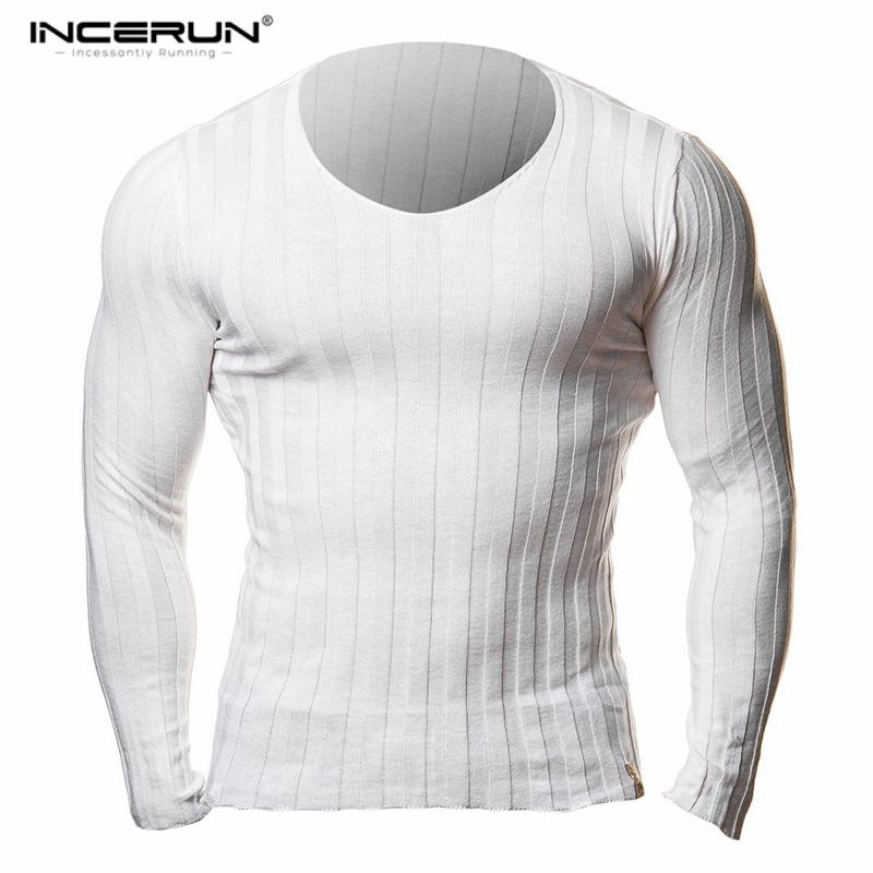 eb2e2d8d7e17 INCERUN Autumn Mens Long Sleeve Knitted T Shirts Slim Fit V Neck Hooded  Sexy Muscle Tees Casual Solid Pullover Male Tops 2018 Awesome T Shirts  Cotton Shirts ...