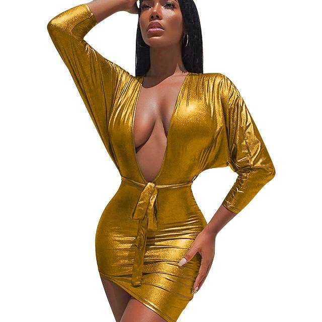 sexy bronzing bat long sleeve belt party dress women plus size spring autumn new deep v neck gold silver prom club runway dress