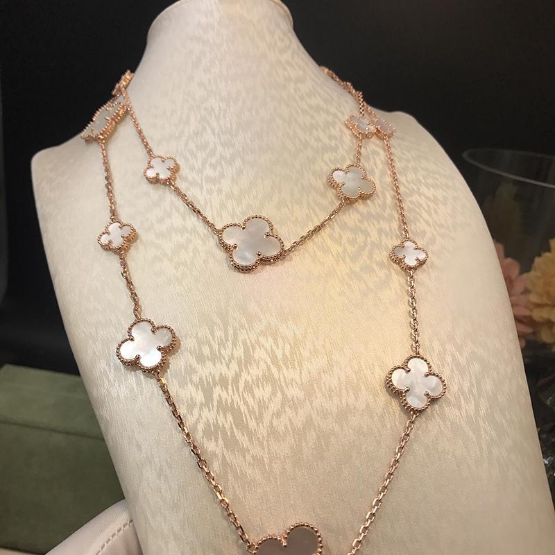 2018 marca de joyería de la boda fijada para las mujeres collar de color oro blanco concha madre perla trébol hoja collar collar pendientes conjunto