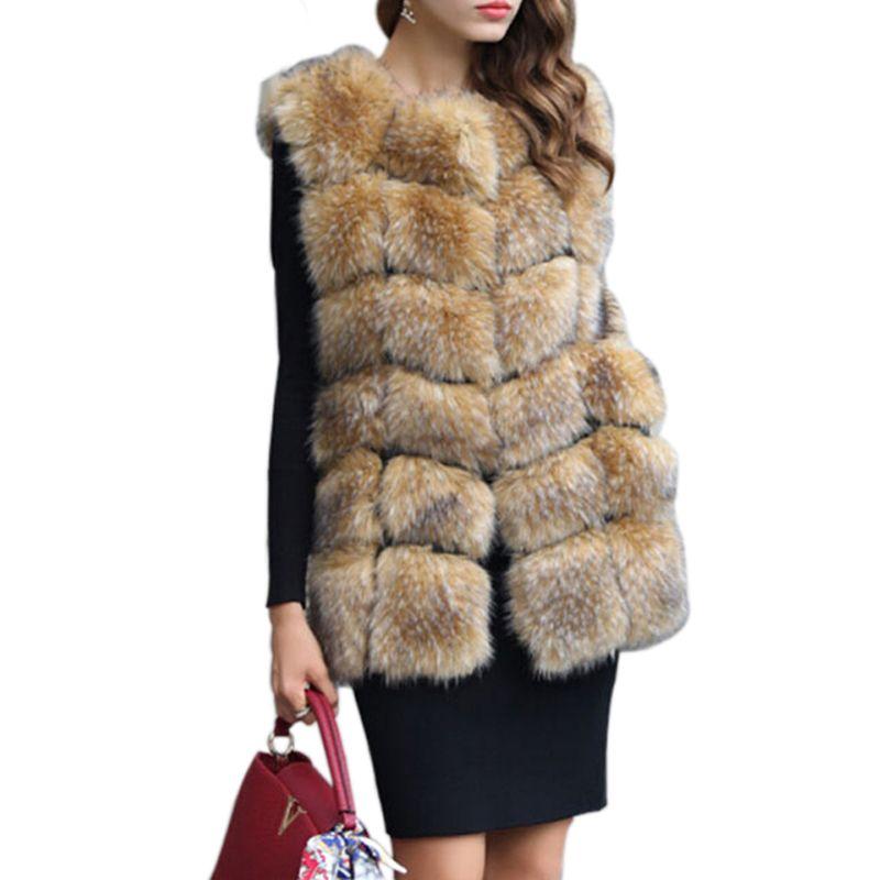 2019 2018 High Imitation Raccoon Dog Fur Vest Women Luxury Faux Fur