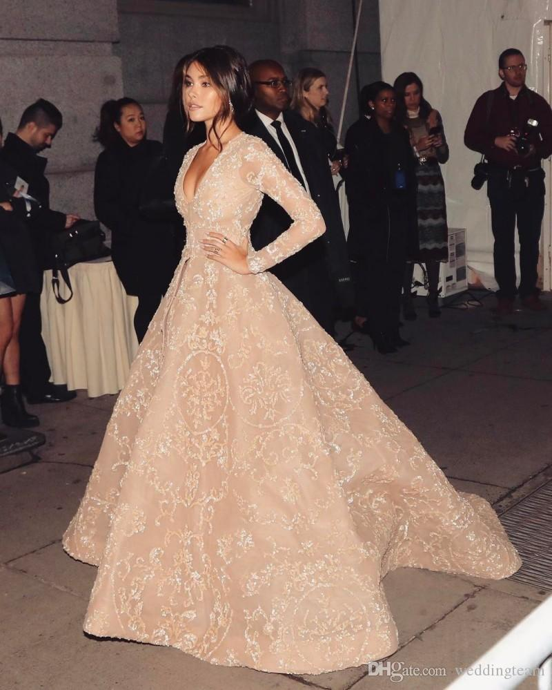 Шампанское Red Carpet Вечерние платья Глубокий V-образным вырезом с длинным рукавом блестками платья выпускного вечера аппликация линии плюс размер вечернее платье