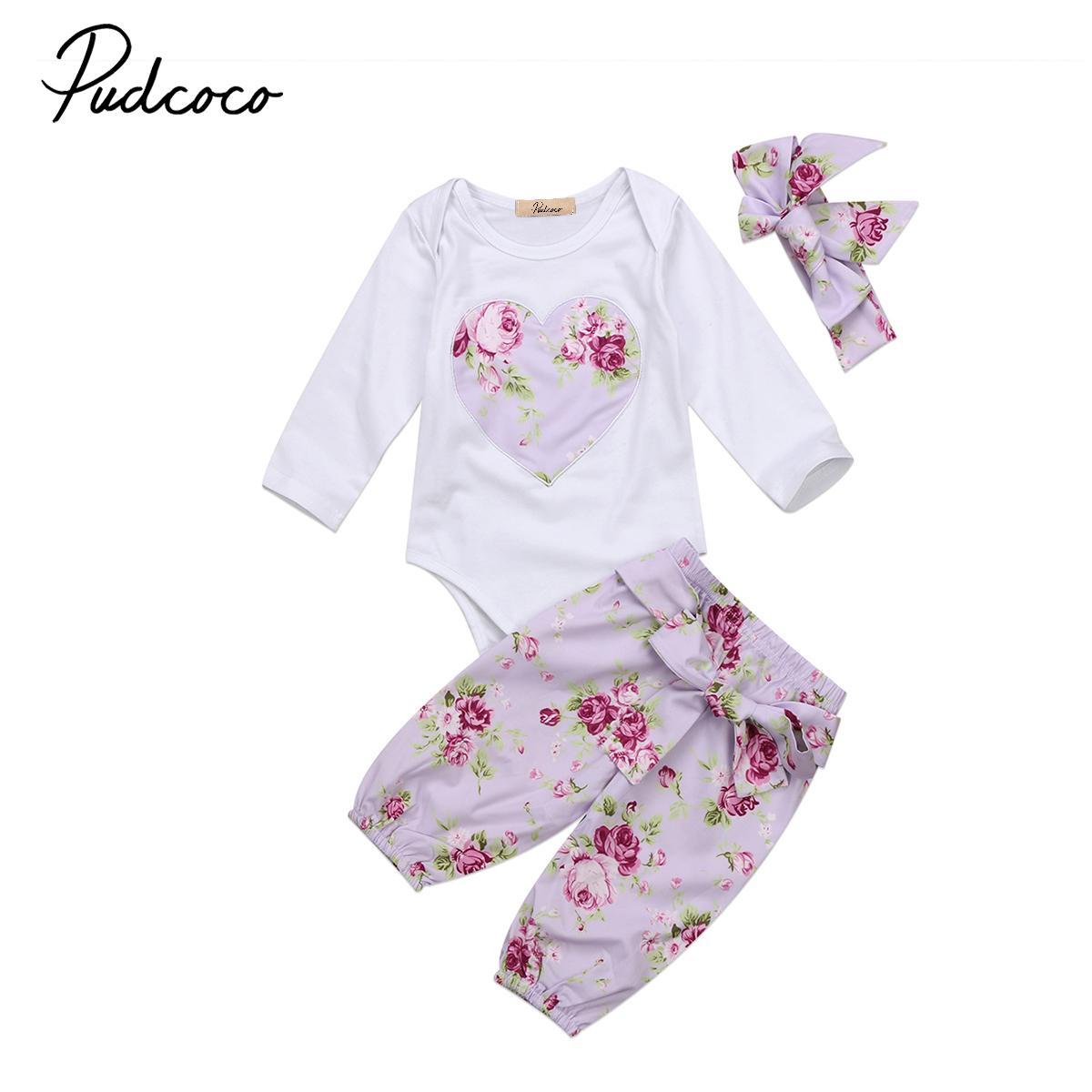 ae9eba5e4 2018 New Floral Romper Set Newborn Baby Girls Clothes Infant Long ...