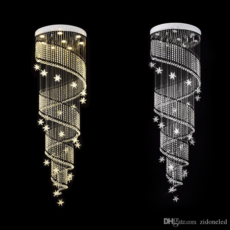 Modern Crystal Chandelier Spiral Design Luxury Staircase Crystal Ceiling Light Fixtures For Dining Room Indoor Lighting