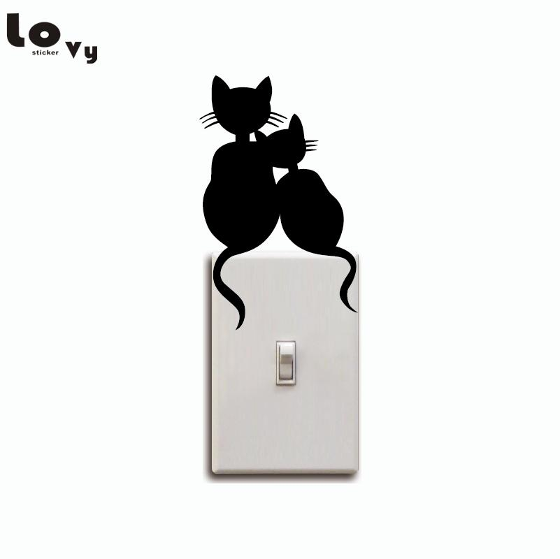 Cats Couple Switch Sticker - Cute Cat Vinyl Wall Decal - Kids Room Wall  Decor (8x13cm)