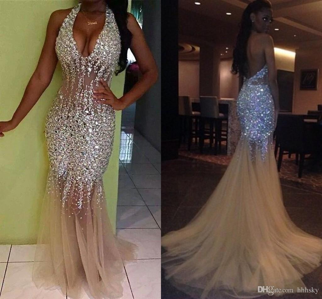 Sexy Bling Mermaid Prom Dresses Deep V Neck Halter Crystal Beaded Tulle See Through Backless Nude Evening Gowns Pageant Dresses hhhsky