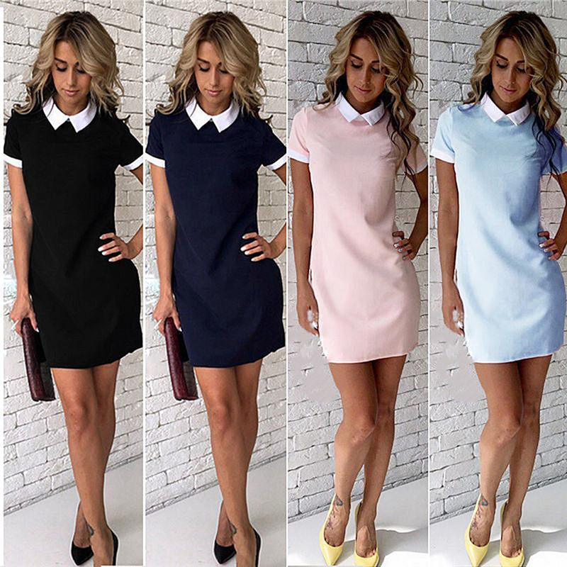 b57ae4fc94 School Preppy Style White Collar Short Sleeve Summer Mini Dresses Summer  Cute Peter Pan Collar Ladies Office Vestidos Women Clothes