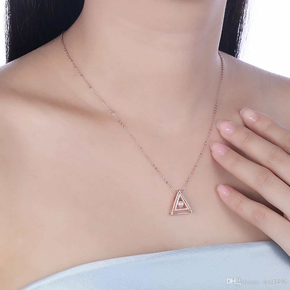 S925 Coreano Moda Feminina Triângulo Colar De Prata De Pérolas SVN196