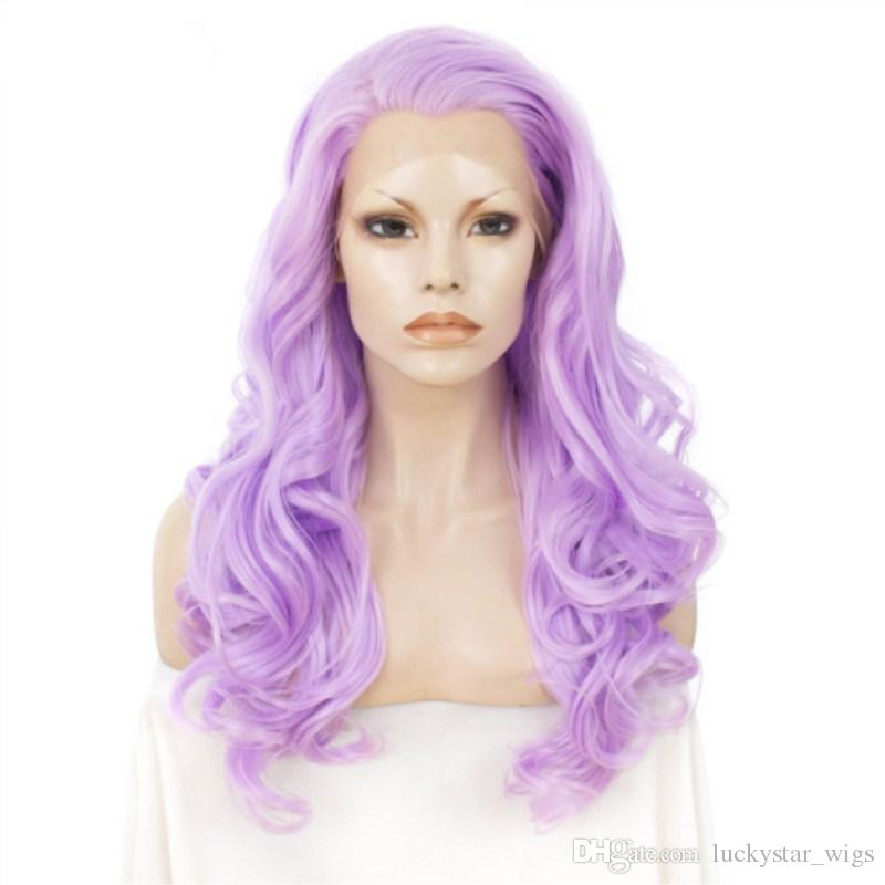 Halloween Beauty Light Purple Wig Long Wavy Synthetic Lace Front Wig  Cosplay Heat Resistant Fiber 180% Full Wigs For Women Natural Hairline  Glueless Full ... fa2a9c1c1f