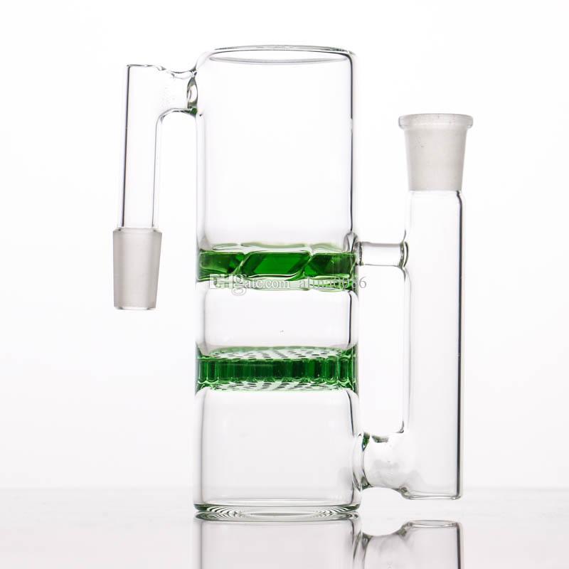 Coppella di vetro spessa di alta qualità a nido d'ape e turbina 14-14 18-18 raccogli cenere tubi d'acqua in vetro