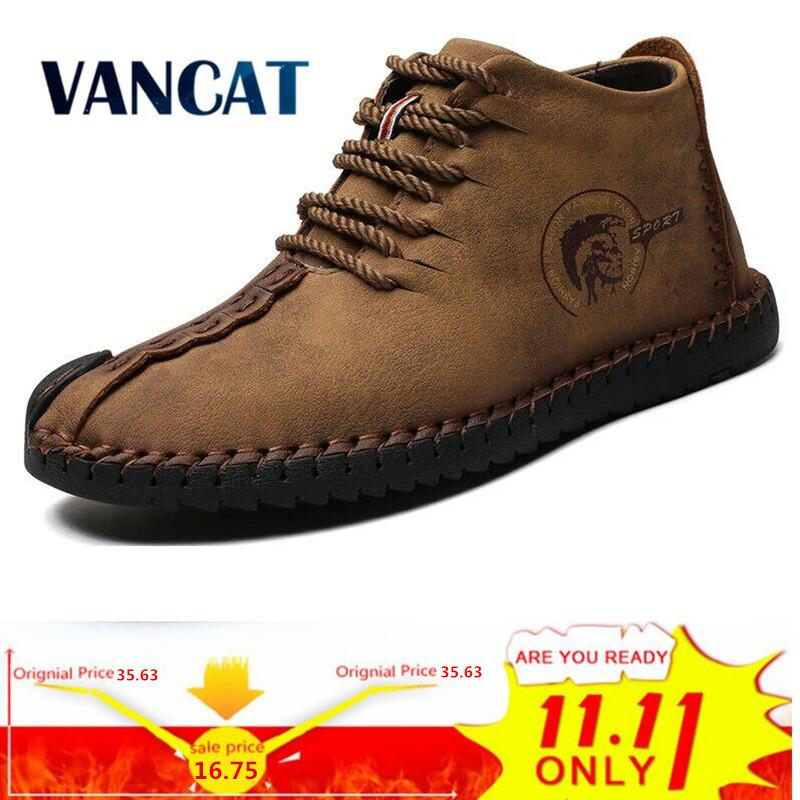 99470e5a6a6 Vancat Fashion Men Boots High Quality Split Leather Ankle Snow Boots Shoes  Warm Fur Plush Lace Up Winter Shoes Plus Size 38~48 Wedge Boots Waterproof  Boots ...