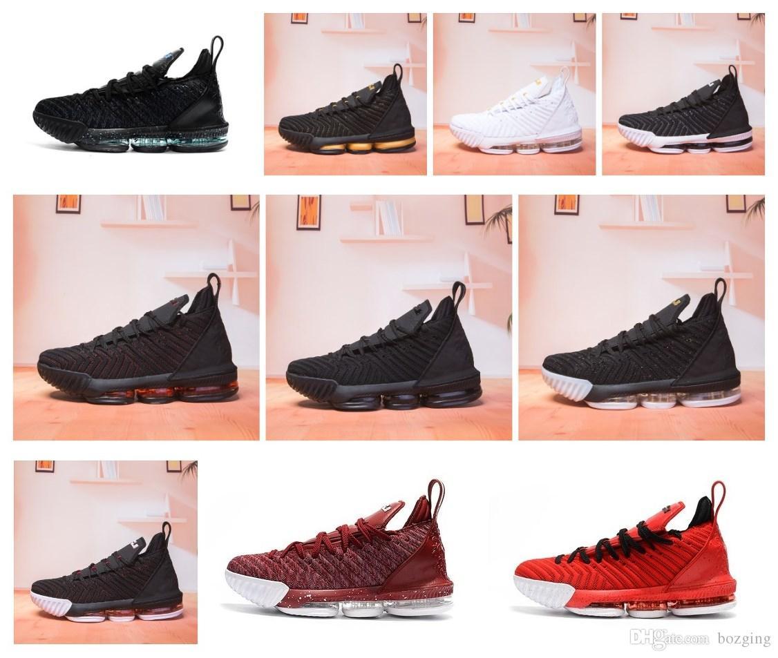d010975a5ff1 Satın Al 2018 Yeni Varış LeBron XVI 16 Siyah Beyaz Altın BHM Basketbol  Ayakkabıları Için En Kaliteli Erkek Atletik 16 S Kurt Gri Spor Boyutu 7 12