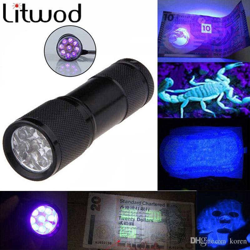 Z50Mini LED flashlight Aluminum Portable light UV Flashlight torch Violet Light 9 LED UV Torch Light Lamp Free Shipping