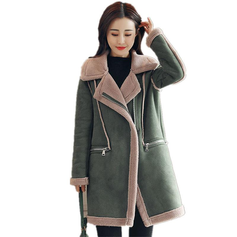 2325d2b5c2dce 2019 Woman Winter Jacket Suede Lambs Wool Coat Parka Warm Thicken Long  Sleeve Suede Long Jacket Outerwear Plus Size Women Coats Q894 From  Hongxuanstore01
