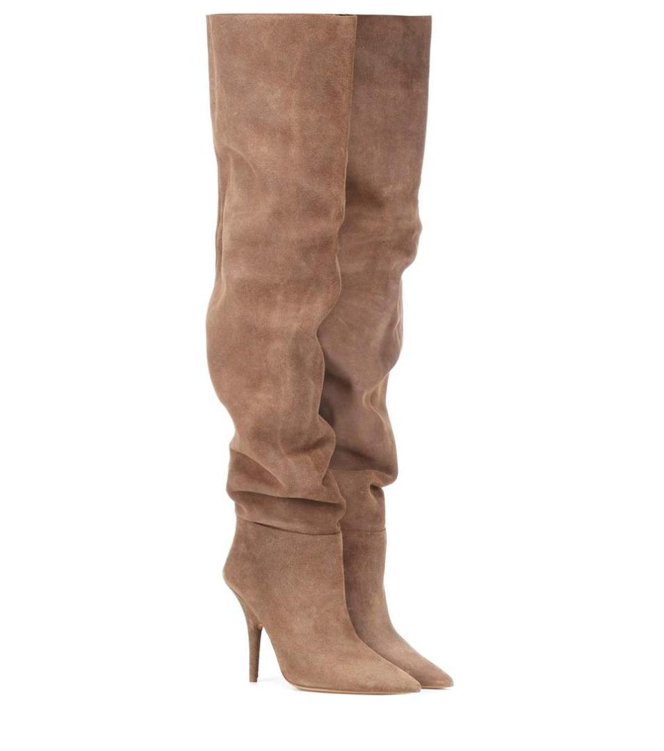 quality design 5177b f4a3e Luxury Brand Women Boots Camel Shopping Patent Leather Slouch Pleated Suede  Knee High Plain Cone Heel Pointed Toe Runway Shoes