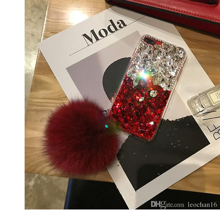 3D Diamond Bling Back Cover Glitter Rhinestone Case Jewelry Phone Shell with Fox Fur Ball for iPhone XS Max XR 6s Samsung Note9