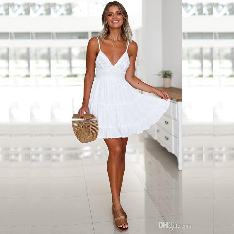 Sexy V Neck Backless Bow Lace Women Dress Summer Elegant Spaghetti Strap Dress Casual Patchwork Pleated Dresses