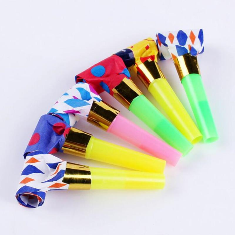 2018 Multiple Blowouts Long Pipe Blow Out Whistles Noise Maker Kids Birthday Party Favor Toys Christmas Navidad New Year
