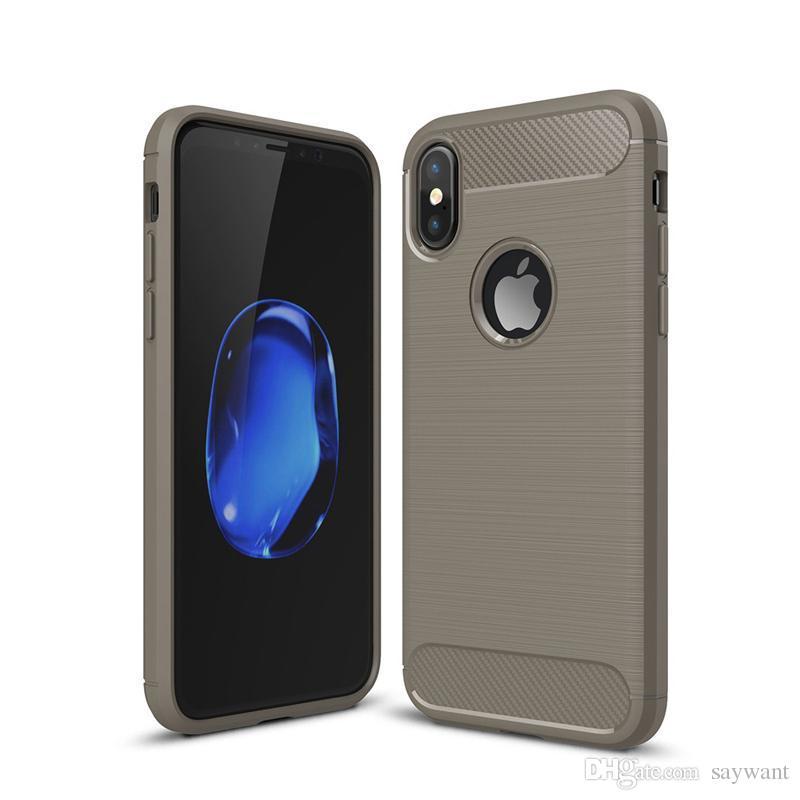 Cas d'armure robuste pour iPhone 6 Plus iPhone X 8 7 Samsung Galaxy S8 S9 Plus Fibre de carbone anti-choc