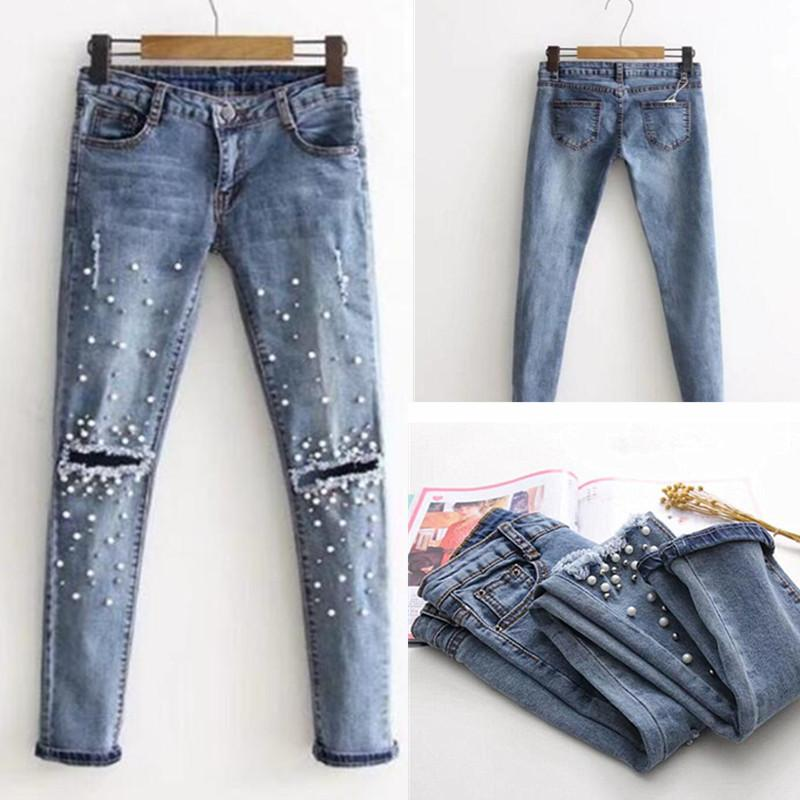 520b33dc2b058 Acquista 2018 New Knee Hole Jeans Strappati Donne Stretch Denim Pantaloni A  Matita Casual Slim Fit Rivetto Perla Jeans Estate Pantaloni Lunghi Vita  Bassa ...