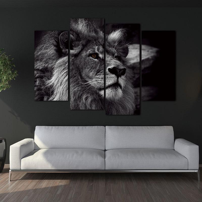 Satın Al Aslan Kafası Portre Duvar Sanatı Boyama Siyah Ve Beyaz Gri