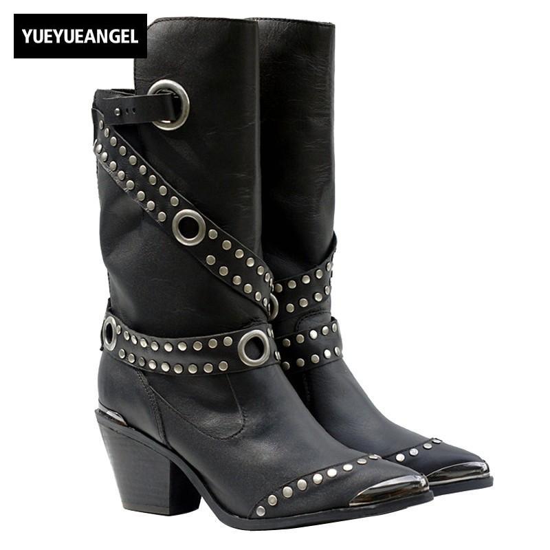63817e95946 Compre Estilo Punky Botas De Cuero Genuino De Las Mujeres Remache De  Invierno Tacones Gruesos Hebilla Del Cinturón Punta Estrecha Knight Half  Boots Negro ...