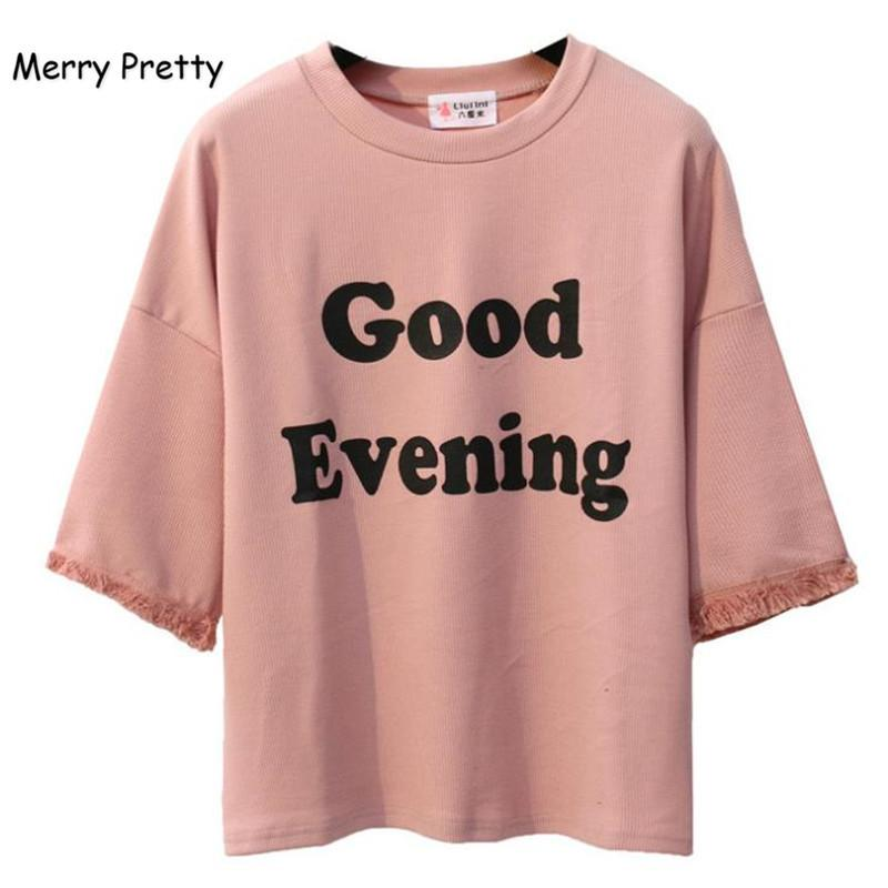 f3244f5318a MERRY PRETTY Pink Harajuku Style Women T Shirt Cotton Tops Tassel Letter  Print Batwing Sleeve Female T Shirts Casual Funny Top Y1891307 Coolest  Shirts Funny ...