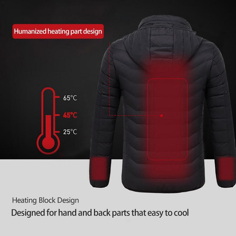 Outdoor Electric Heated Down Jacket USB Heating Warm Winter Sport ... fc0e52820