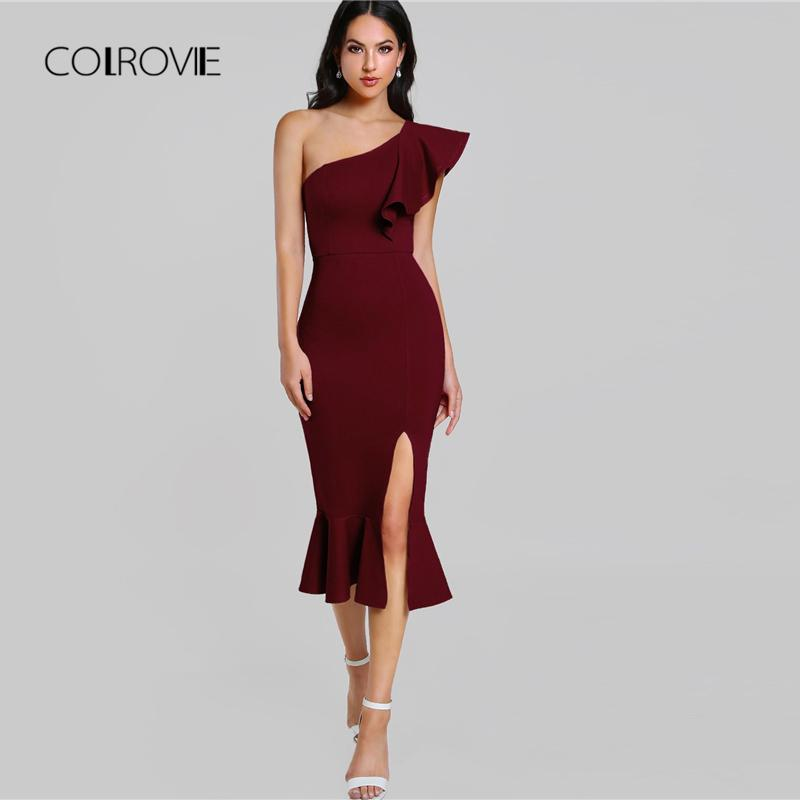 Compre COLROVIE Maroon One Shoulder Ruffle Split Girls Vestido ...