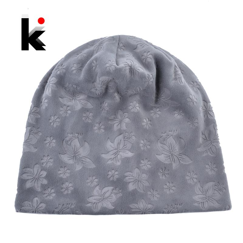 9125ae94575e0 Autumn Winter Hats For Women Soft Embossing Flowers Bonnet Caps ...