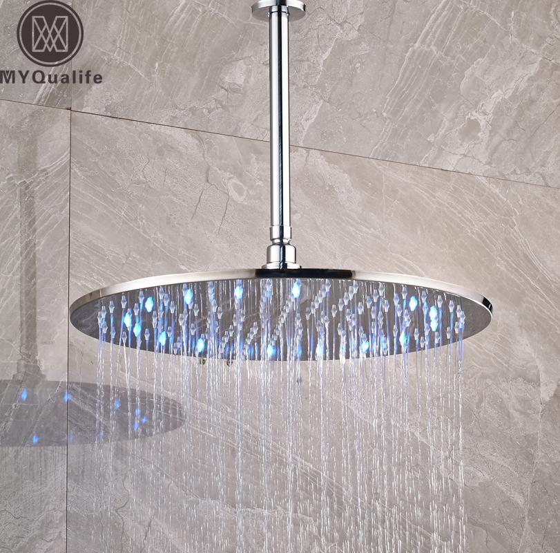 2019 Luxury Led Colog Changing 16 Inch Big Rain Shower Head Ceiling