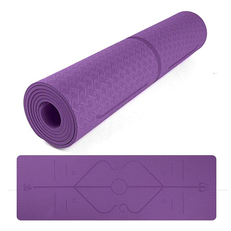 81dbc583b5e Compre 2018 Great River Hill TPE Estera De Yoga De 6 Mm Para Yoga Pilates  Home Gym Púrpura A  51.64 Del Johiny