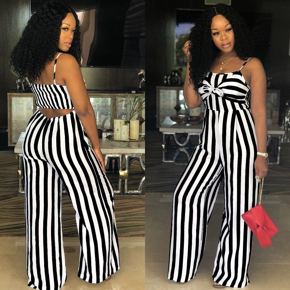 c62b01c62 2019 Women Strap Striped Romper Jumpsuit Fashion Backless Wide Leg Long  Pants Casual Clubwear Outfit From Worsted, $29.66 | DHgate.Com