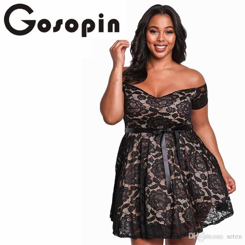 72a03cf6b62 2019 Gosopin Floral Lace Womens Plus Size Dresses Off Shoulder Mini Sexy Summer  Dress Black Large Size 2018 Skater Party Dress 220195 From Seten