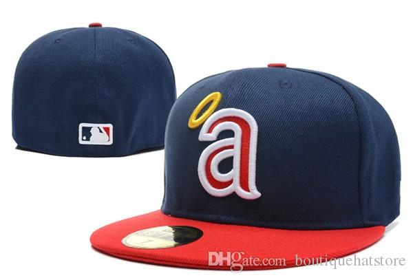 New Angels Full Red Color Baseball Fitted Hats Sport Team Logo Embroidered A Full Closed Caps Out Door Bones with upper case A