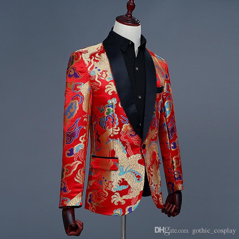 Compre 2018 Hombres Estilo Chino Rojo Jacquard Bordado Dragón Patrón Blazer  Nightclub Slim Fit Diseño Traje De Novia Chaqueta A  60.92 Del  Gothic cosplay ... ec63b0c13ad