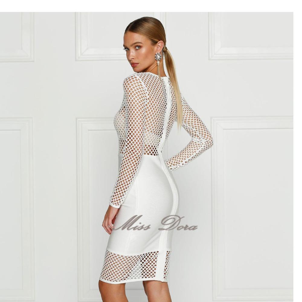 Новый 2016 осень зима Белый чистая выдалбливают с длинным рукавом повязку платье знаменитости партии повязку платье Сексуальная bodycon взлетно-посадочной полосы платье