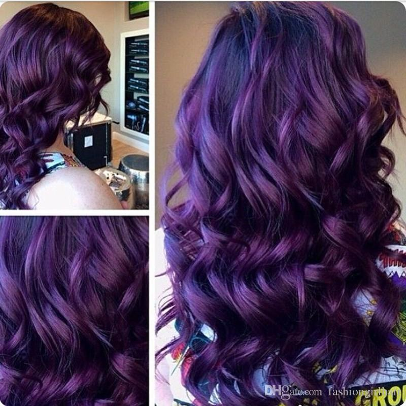 Fashion Ombre body wave Synthetic Lace Front Wig heat resistant Glueless Long Two Tone Color Purple synthetic Wigs For Women