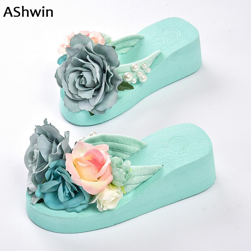 204ae1f5320768 Summer Women Flip Flops Thong Slippers Flower Flatform Shoes Mules Clogs  Wedge Handmade Pearl Slippers Jelly Color Hawaiian Wedge Shoes Flat Shoes  From ...
