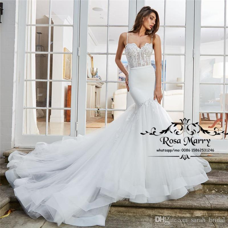 8fbed6e2733 Sexy Plus Size Mermaid Arabic Wedding Dresses 2018 New Spaghetti Vintage  Lace Tiered Tulle Cheap Country Beach Boho Wedding Bridal Gowns Arabic  Wedding ...