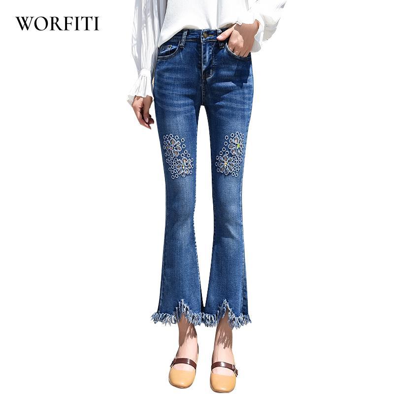 c5b9003906 Compre Pantalones Vaqueros De Mujer Jeans De Campana Pantalones De Mezclilla  Bordados Corte De Bordado Mujer Pantalones De Mezclilla A  49.4 Del  Honey333 ...